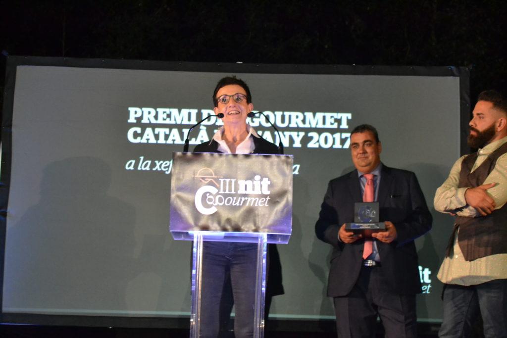 Carmen Ruscalleda durante su discurso recogiendo el premio Gourmet Català de l'Any